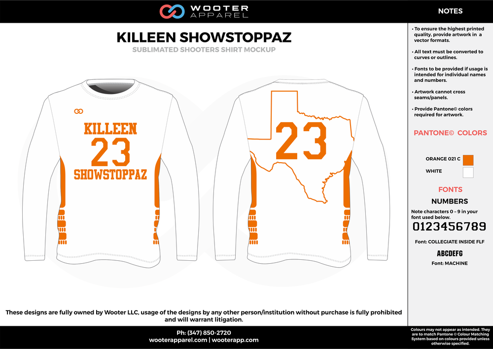 KILLEN SHOWSTOPPAZ orange white Basketball Long Sleeve Shooting Shirt