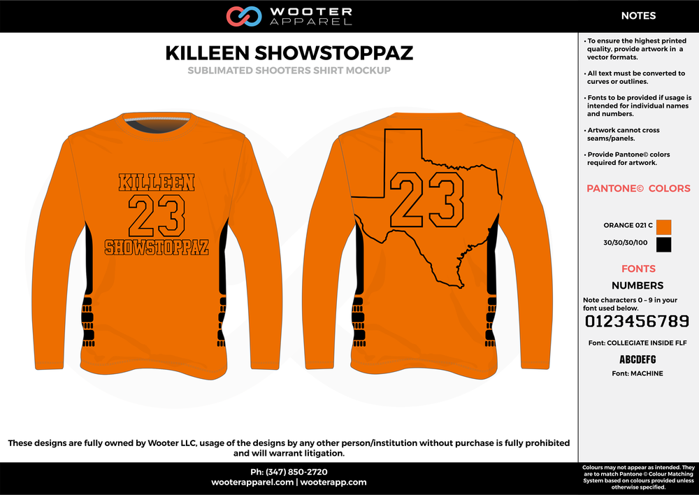 KILLEN SHOWSTOPPAZ orange black Basketball Long Sleeve Shooting Shirt
