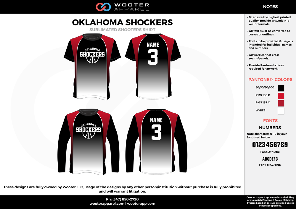 OKLAHOMA SHOCKERS black wine red white Basketball Long Sleeve Shooting Shirt