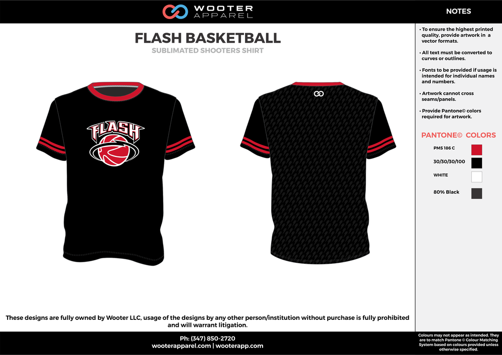 FLASH BASKETBALL black red white Basketball Long Sleeve Shooting Shirt