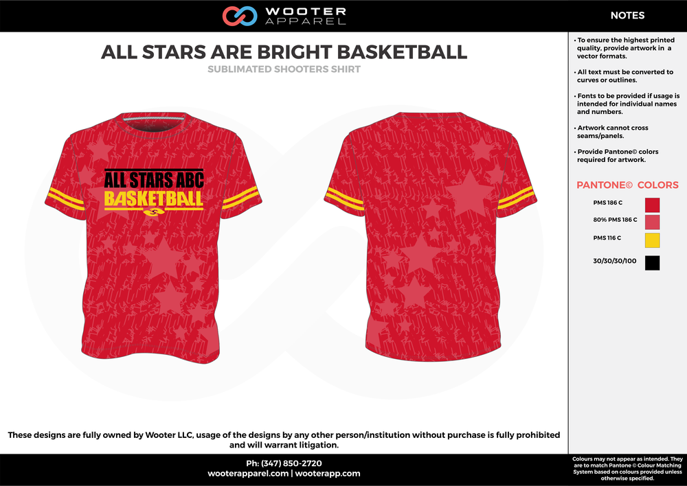ALL STARS ARE BRIGHT BASKETBALL red yellow black Basketball Long Sleeve Shooting Shirt