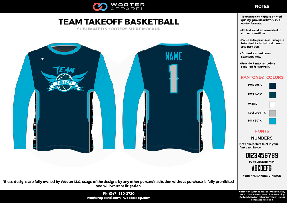 TEAM TAKEOFF BASKETBALL sky/dark blue white black Basketball Long Sleeve Shooting Shirt