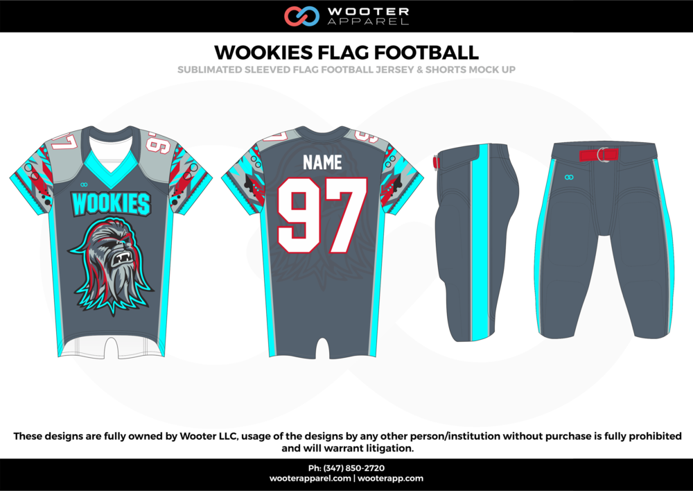 WOOKIES FLAG FOOTBALL gray cyan green red white flag football uniforms jerseys pants