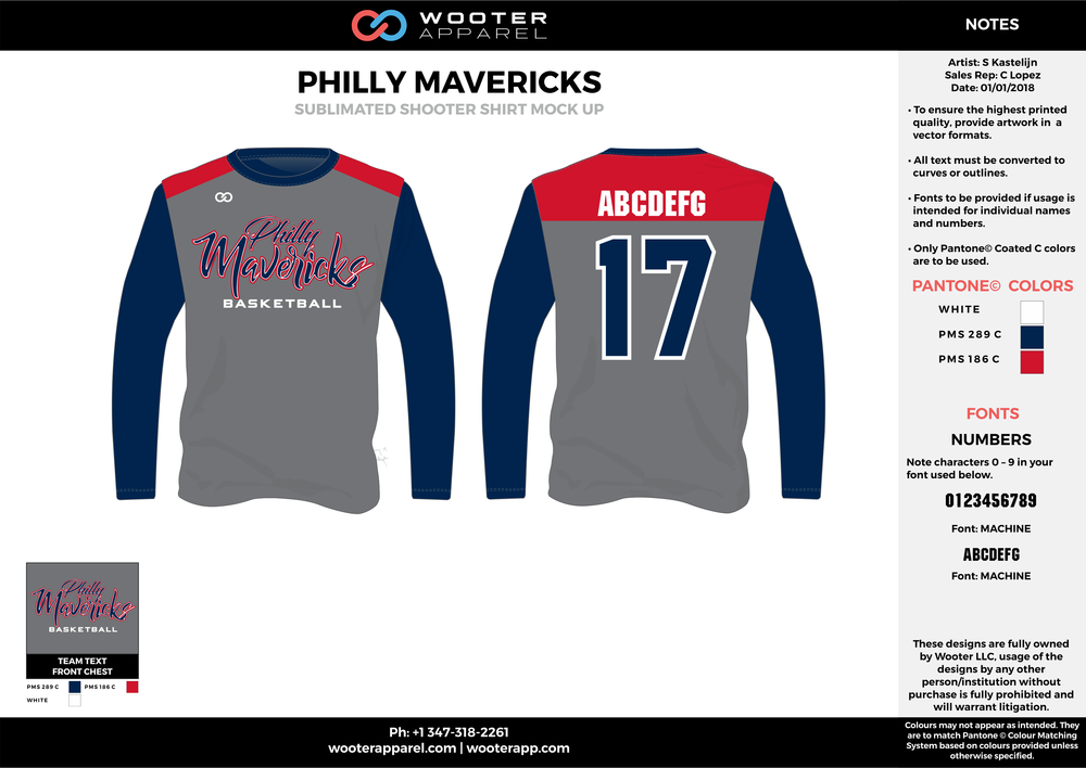 PHILLY MAVERICKS gray navy blue red white Basketball Long Sleeve Shooting Shirt