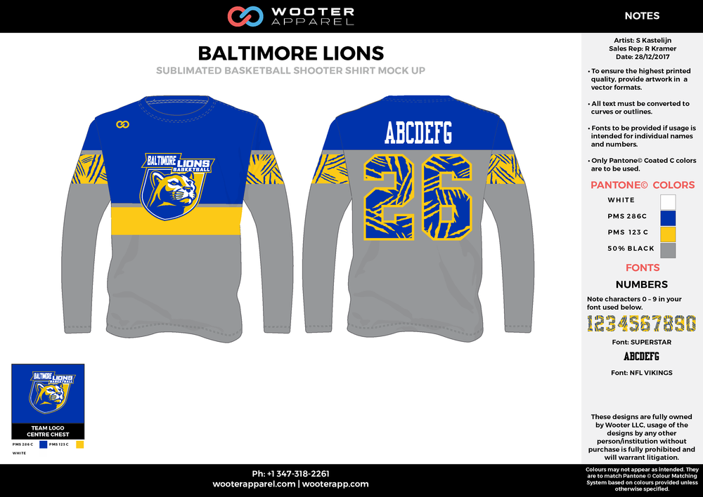 BALTIMORE LIONS blue gray yellow white Basketball Long Sleeve Shooting Shirt