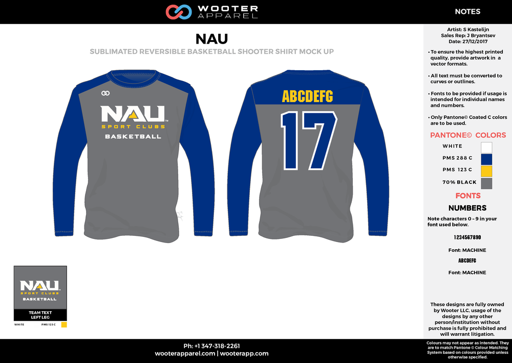 NAU gray blue yellow white Basketball Long Sleeve Shooting Shirt