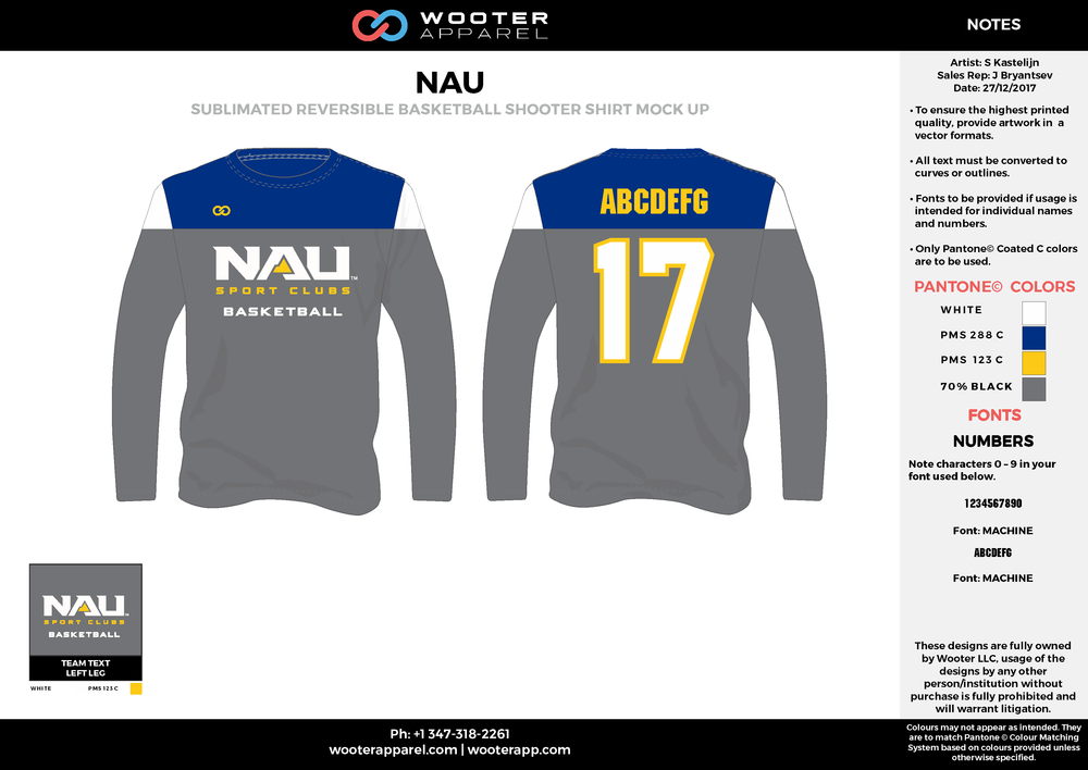 NAU  gray blue white yellow Basketball Long Sleeve Shooting Shirt