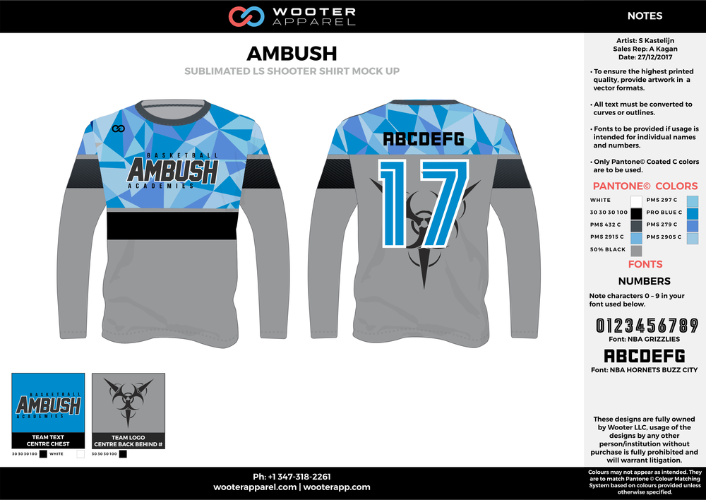 AMBUSH gray blue black Basketball Long Sleeve Shooting Shirt