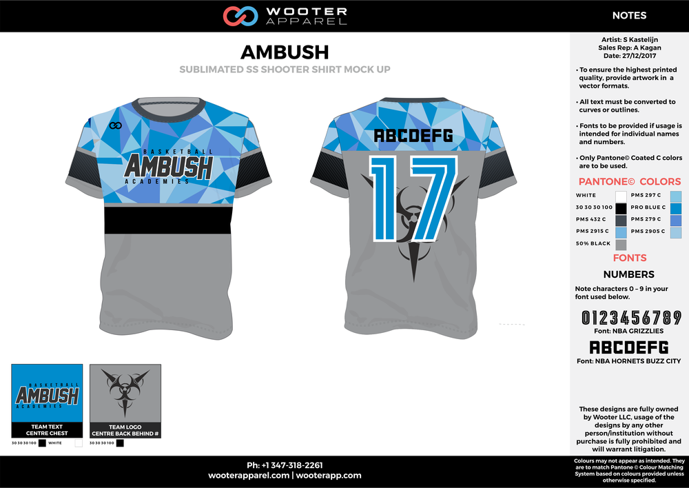 AMBUSH gray blue black Basketball Short Sleeve Shooting Shirt