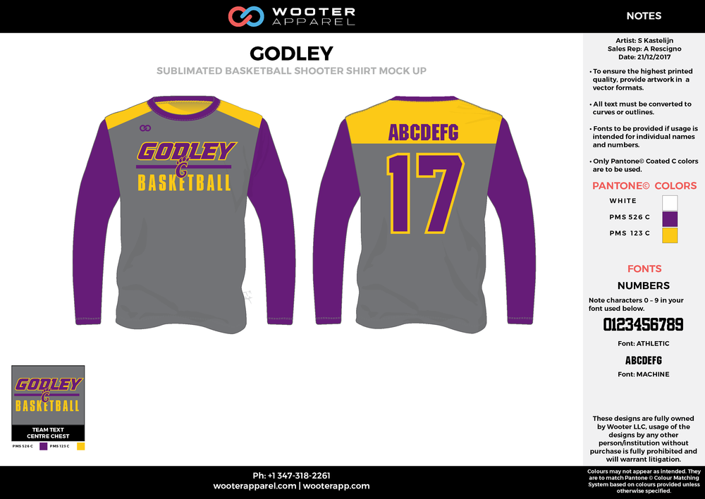 GODLEY gray yellow purple Basketball Long Sleeve Shooting Shirt