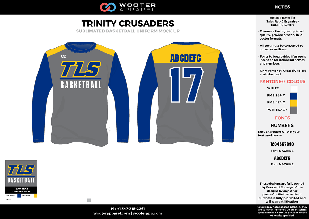 TRINITY CRUSADERS blue yellow gray white Basketball Long Sleeve Shooting Shirt