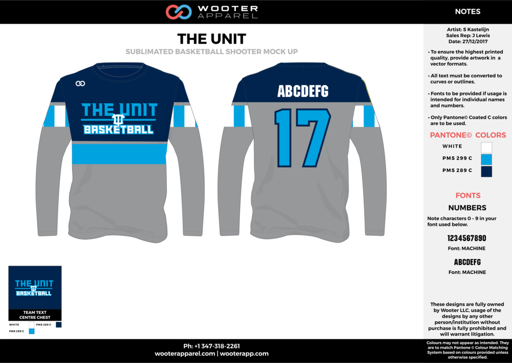 THE UNIT gray blue white dark blue Basketball Long Sleeve Shooting Shirt