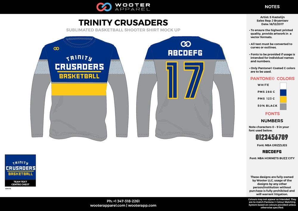 TRINITY CRUSADERS blue gray yellow white Basketball Long Sleeve Shooting Shirt