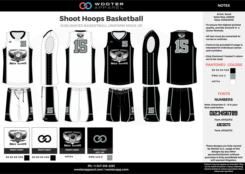 SHOOT HOOPS BASKETBALL black white gray Basketball Long Sleeve Shooting Shirt