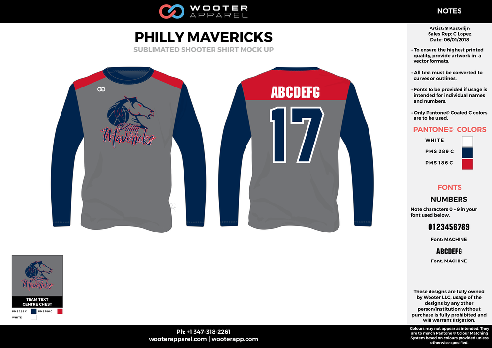 PHILLY MAVERICKS navy blue gray red white Basketball Long Sleeve Shooting Shirt