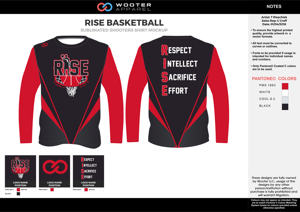RISE BASKETBALL red black white gray Basketball Long Sleeve Shooting Shirt