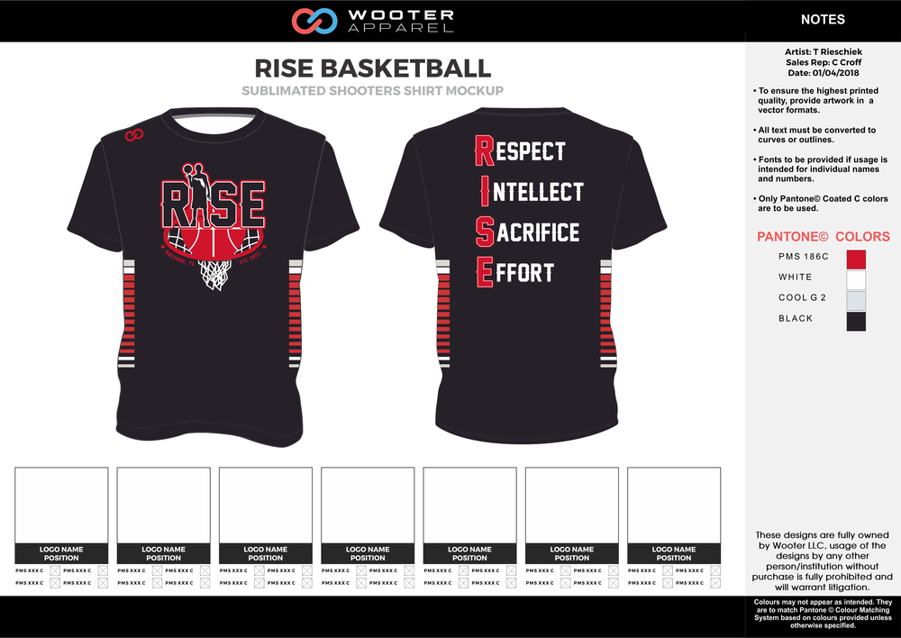 RISE BASKETBALL black red gray white Basketball Short Sleeve Shooting Shirt