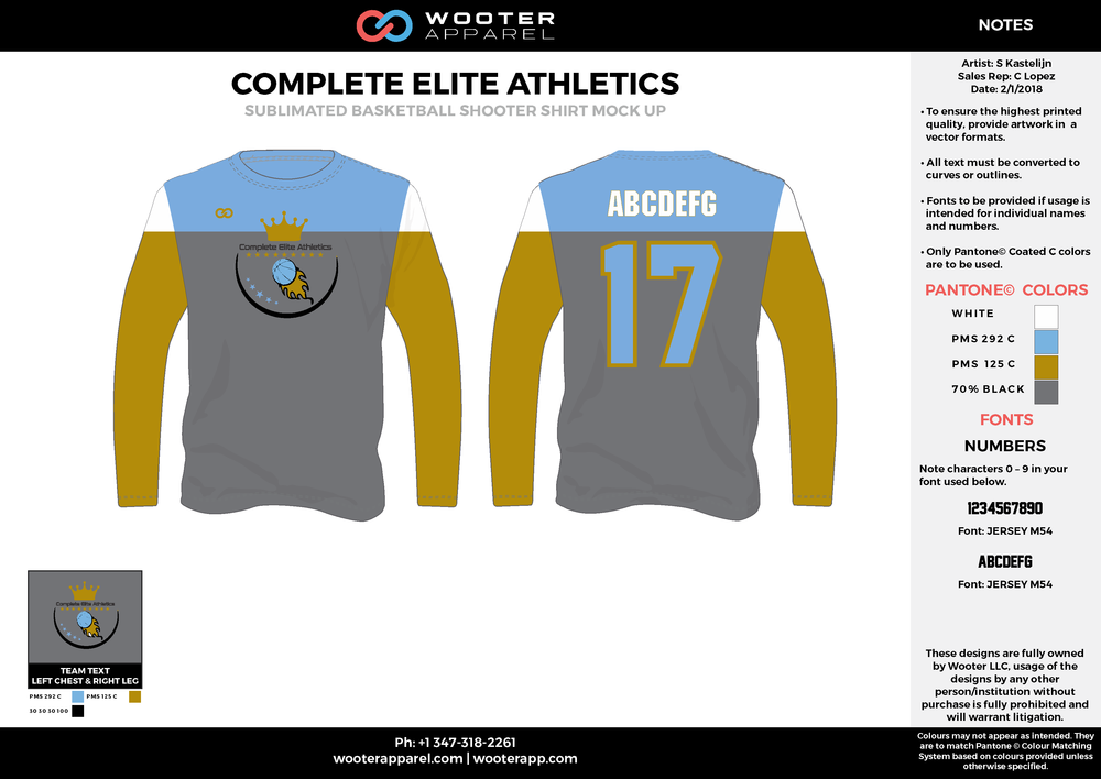 COMPLETE ELITE ATHLETICS blue gray yellow white Basketball Long Sleeve Shooting Shirt