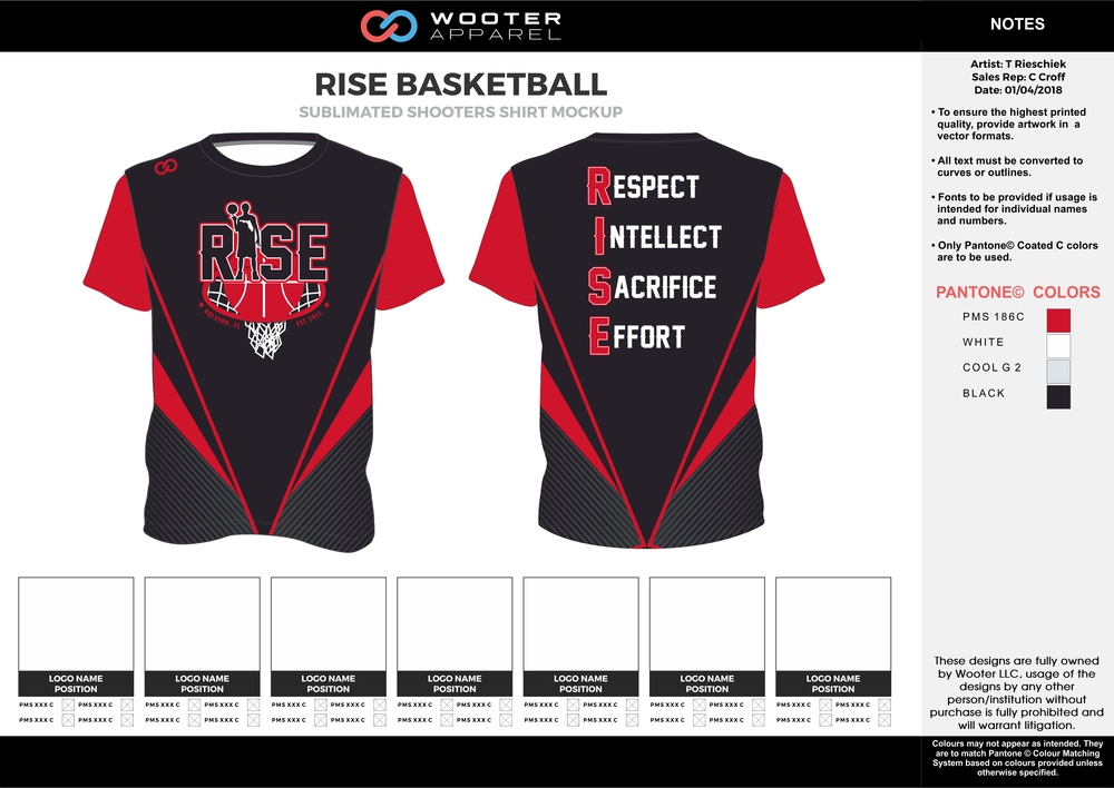 RISE BASKETBALL red black gray white Basketball Short Sleeve Shooting Shirt