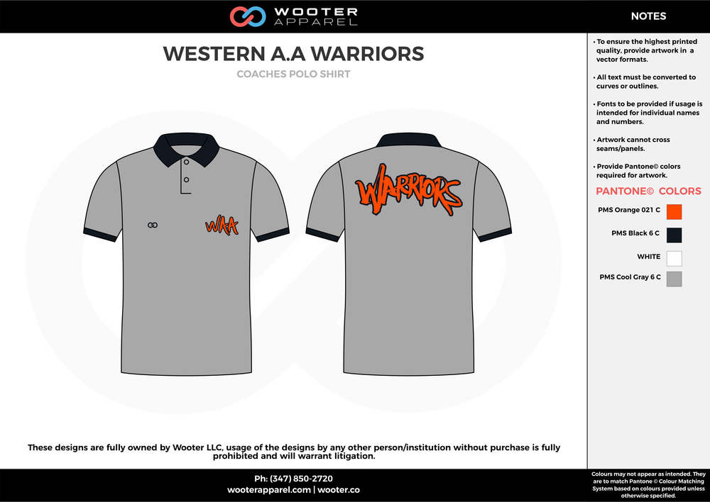 WESTERN A.A WARRIORS White blue and yellow sublimated polo shirts