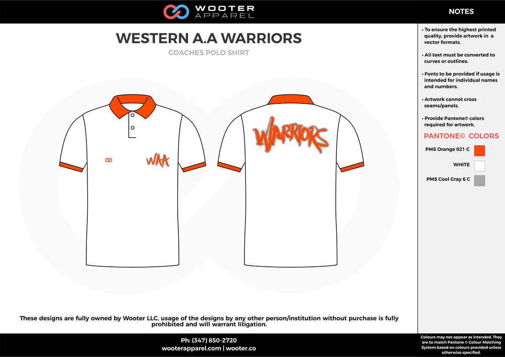 WESTERN A.A WARRIORS White Orange Sublimated Polo Shirts