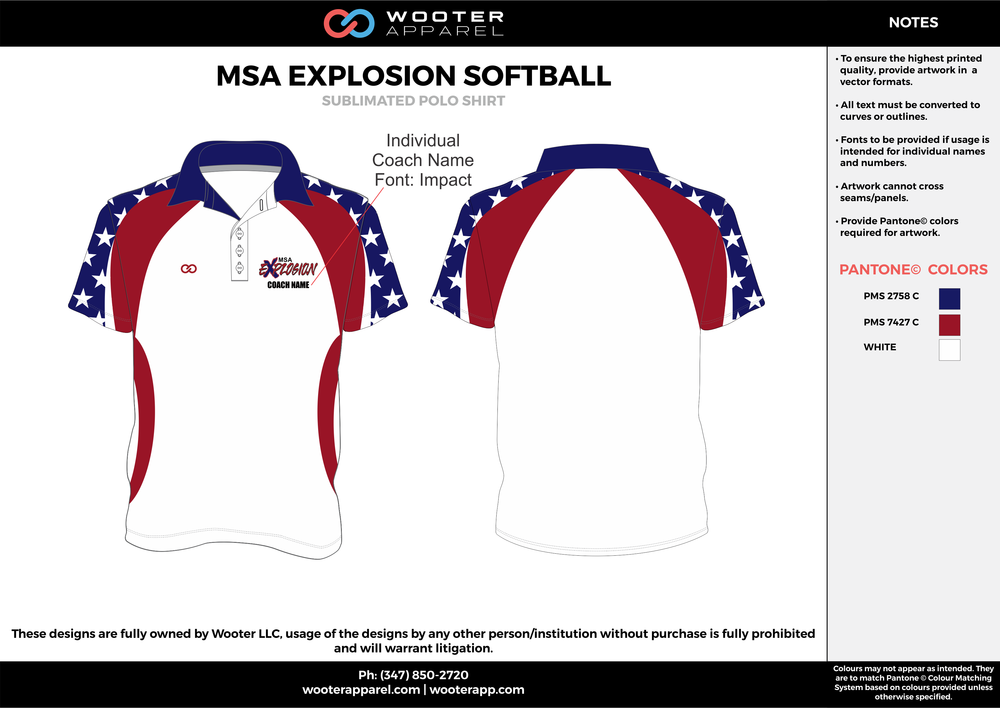 MSA EXPLOSION SOFTBALL White Blue and Red Sublimated Polo Shirts