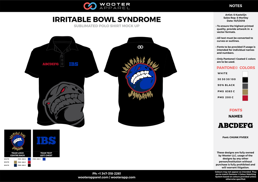 IRRITABLE BOWL SYNDROME Black Red Blue Gray White Sublimated Polo Shirts