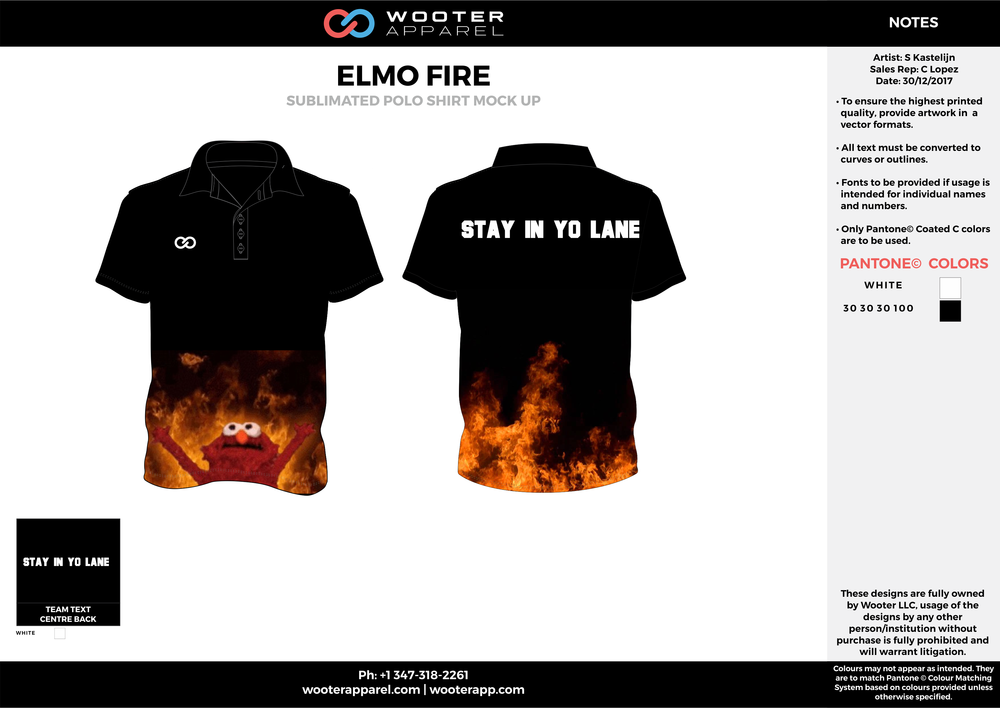 ELMO FIRE Black Red Orange and White Sublimated Polo Shirts
