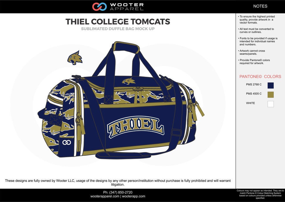 Thiel College Tomcats Football - Sublimated Duffle Bag - 2017.png