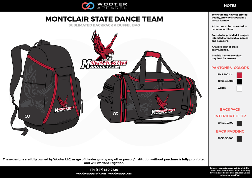 MONTCLAIR STATE DANCE TEAM Black Red and White Football Backpack and Duffel Bag