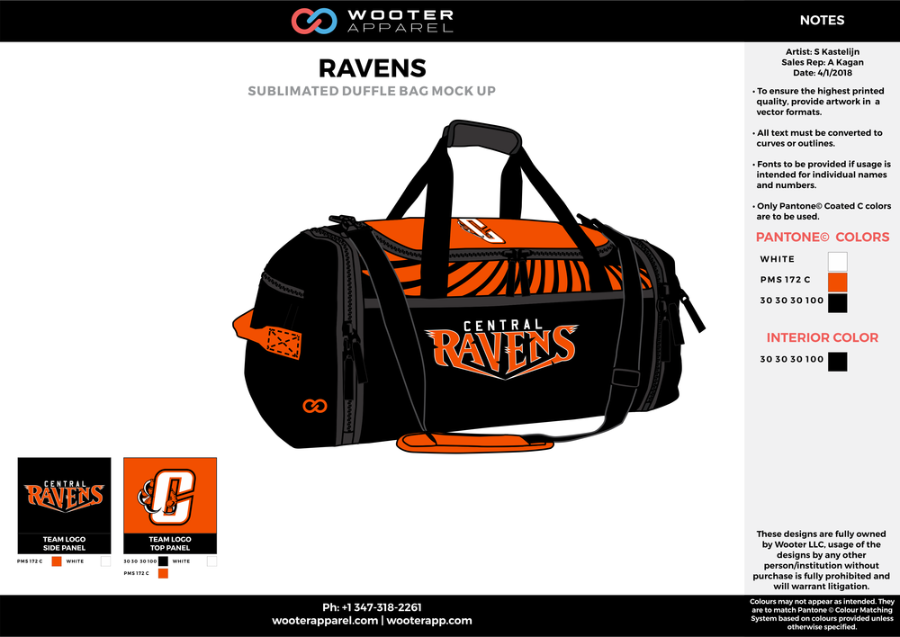RAVENS Black Orange and White Football Duffel Bag