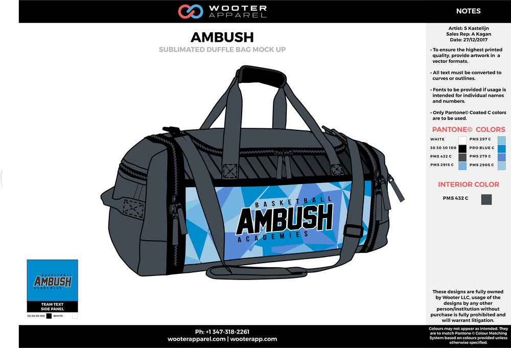 AMBUSH Blue Gray and Black Football Duffel Bag