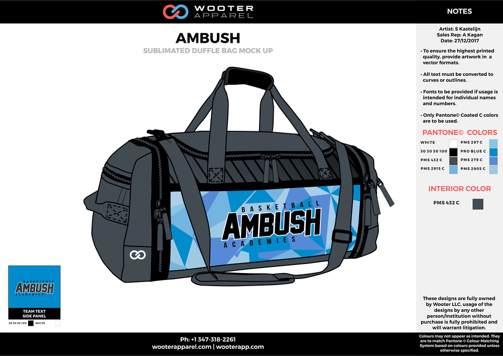 AMBUSH Blue Gray Black and White Football Duffel Bag