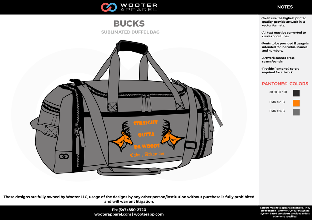 BUCKS Gray Orange and Black Basketball Duffel Bag