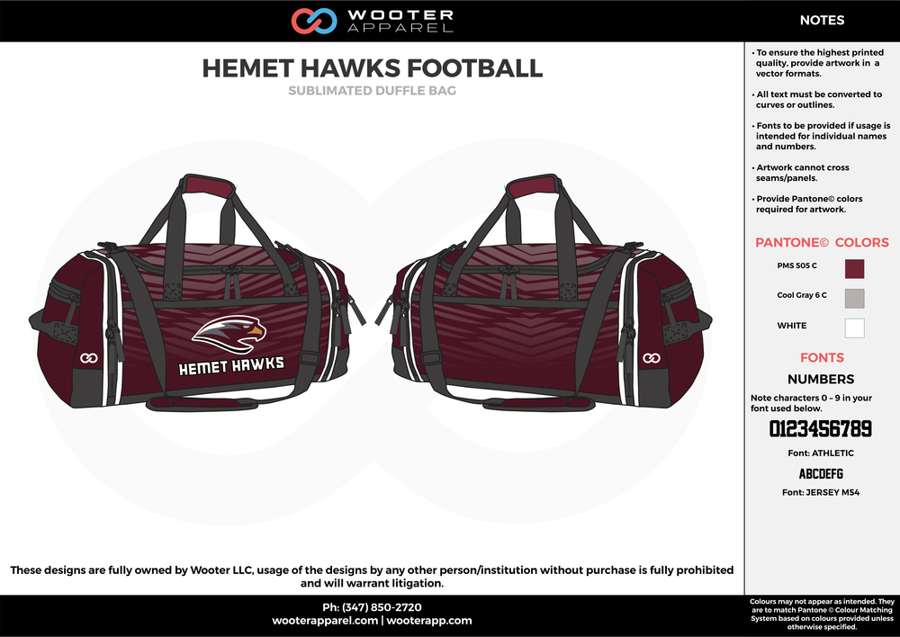 HEMET HAWKS FOOTBALL Maroon Gray and White Football Duffel Bags