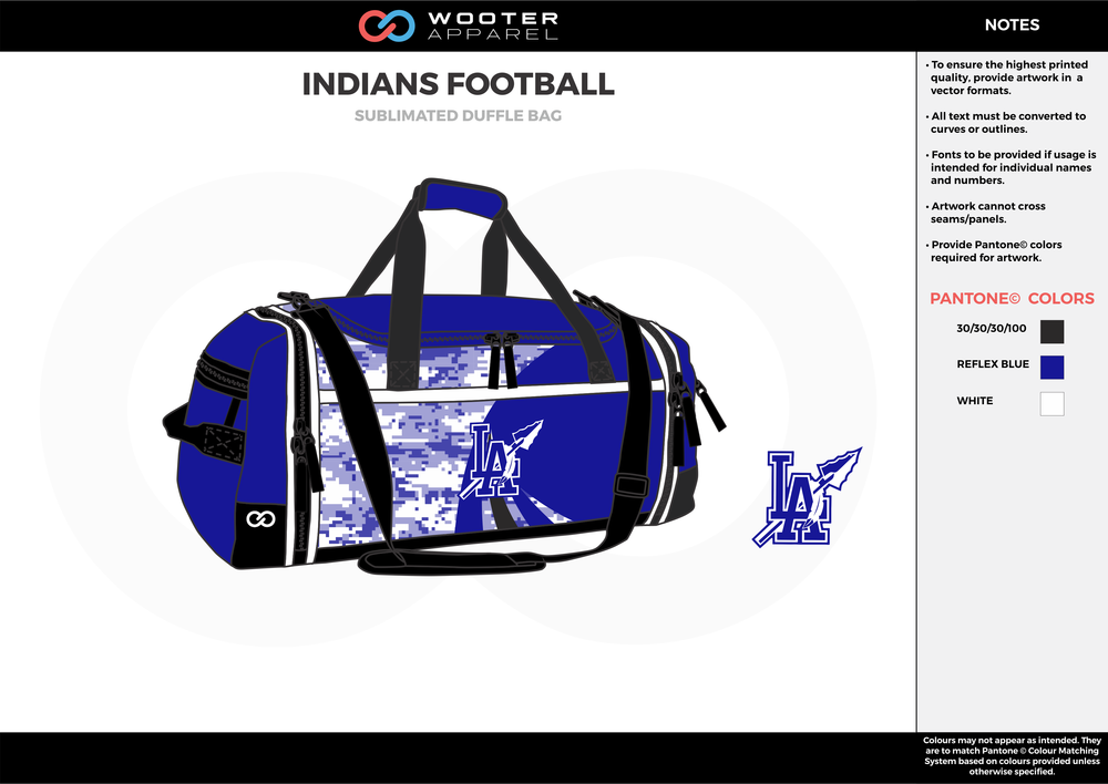 INDIANS FOOTBALL Blue Black and White Football Duffel Bag