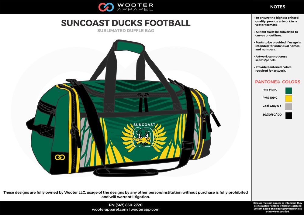 SUNCOAST DUCKS FOOTBALL Green Yellow Gray and Black Football Bags