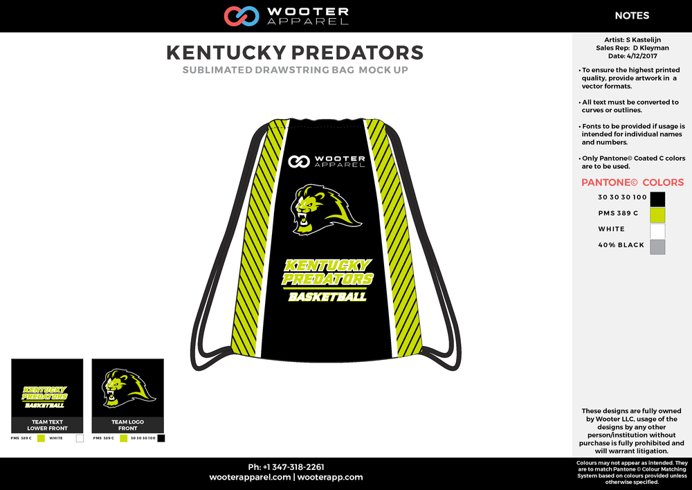 KENTUCKY PREDATORS Black Yellow White and Gray Basketball Drawstring Bag