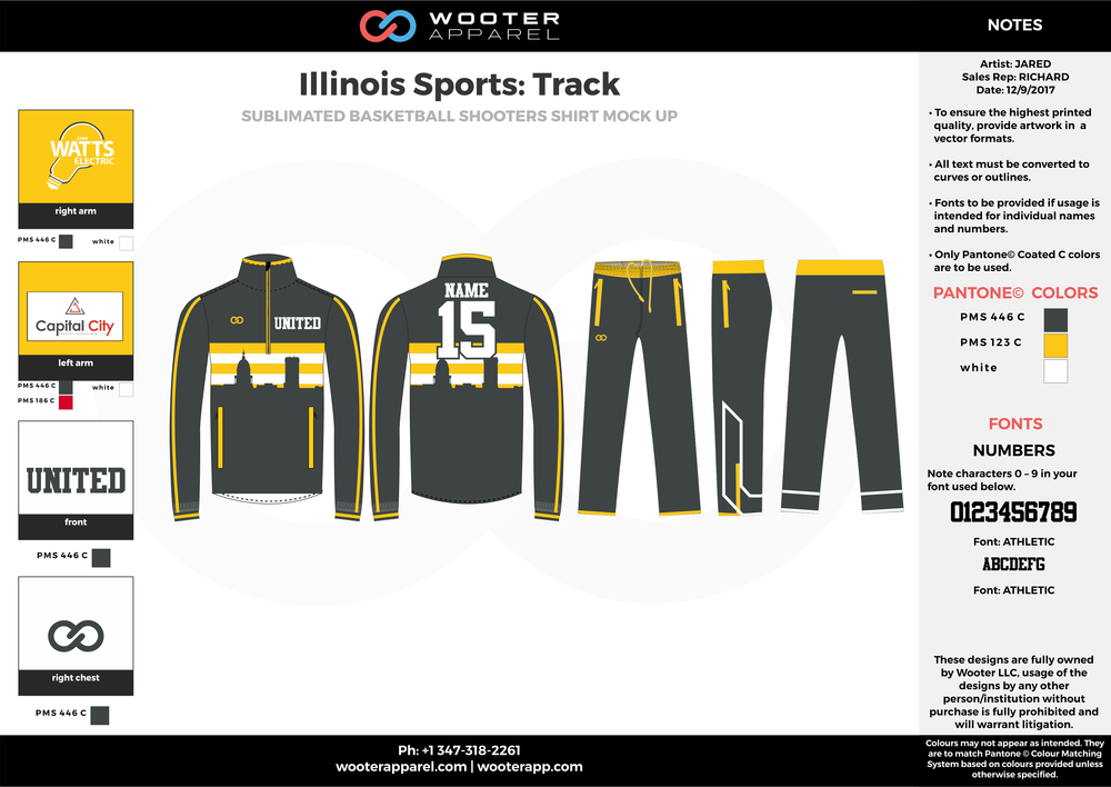 Illinois Sports Track Black Yellow and White Baseball Track Jacket and Track Pants