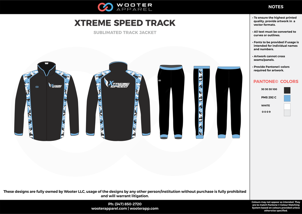 XTREME SPEED TRACK Baseball Black Sky Blue and White Baseball Track Jacket and Track Pants