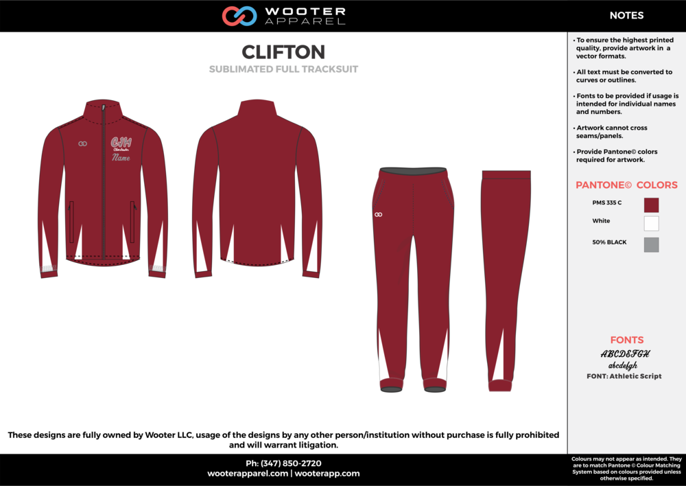 CLIFTON Red White and Gray Baseball Track Jacket and Track Pants