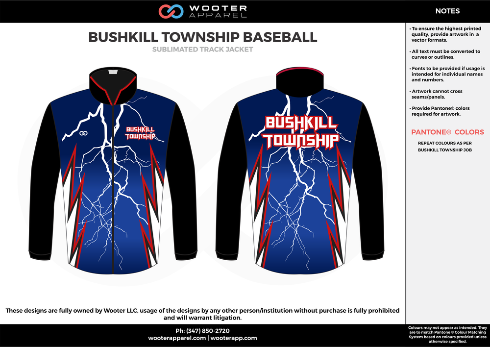 BUSHKILL TOWNSHIP BASEBALL Blue black red and white baseball uniforms track jackets