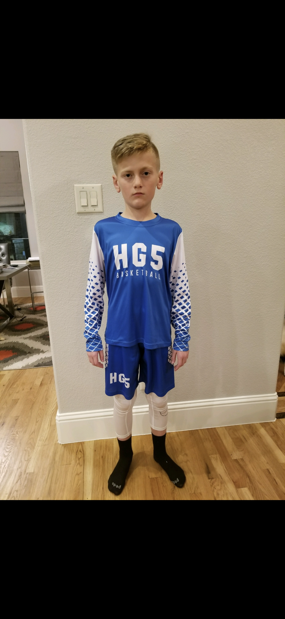 HG5 Blue and White Basketball Jersey and Short