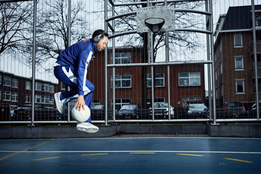 Blue and white basketball long sleeve jersey and pants