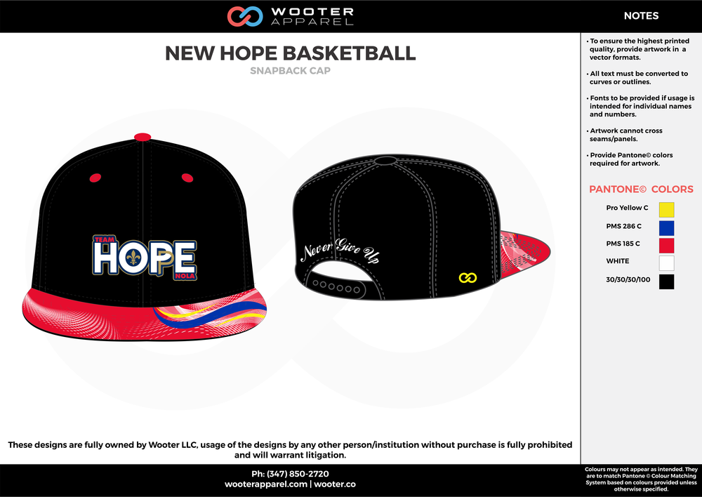 b363176eae1 NEW HOPE BASKETBALL Yellow Blue Red White and Black Basketball Snapback Hat  and Cap