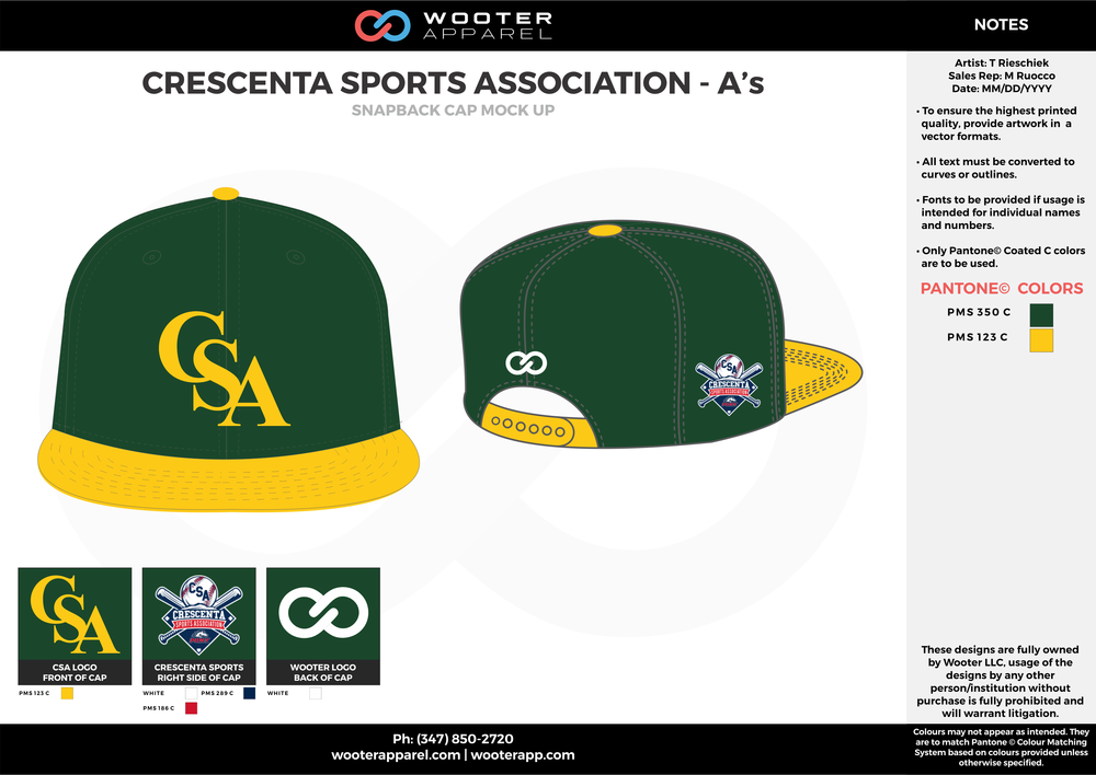 CRESCENTA SPORTS ASSOCIATIONS A'S Green Yellow and white Basketball Snapback Hat and Cap