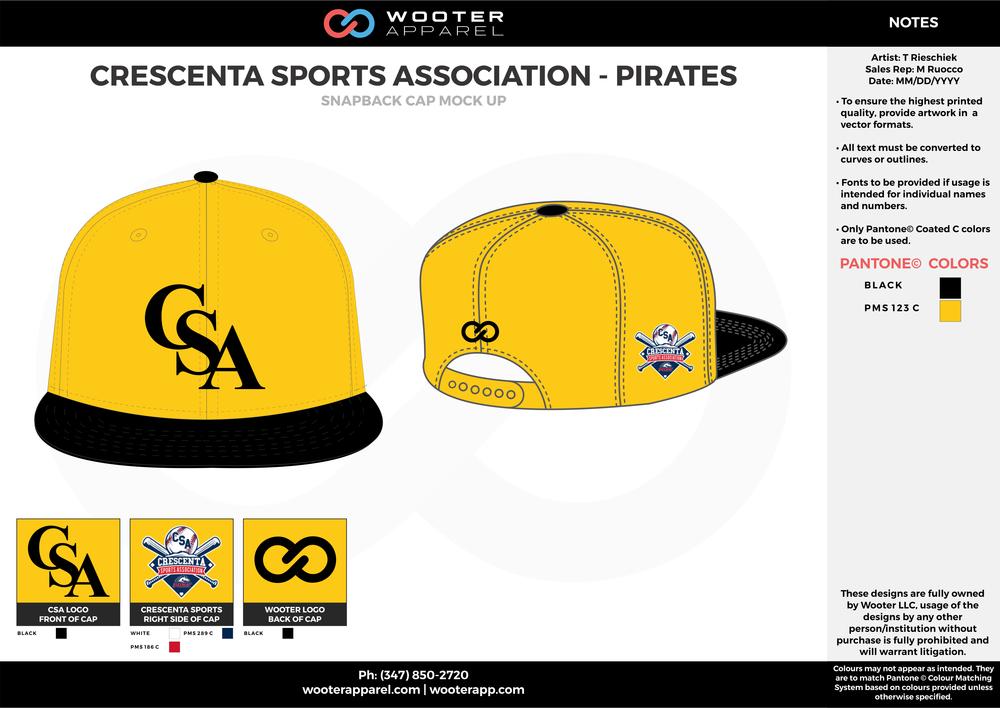 CRESCENTA SPORTS ASSOCIATION - PIRATES Black and Yellow Basketball Snapback Hat and Cap