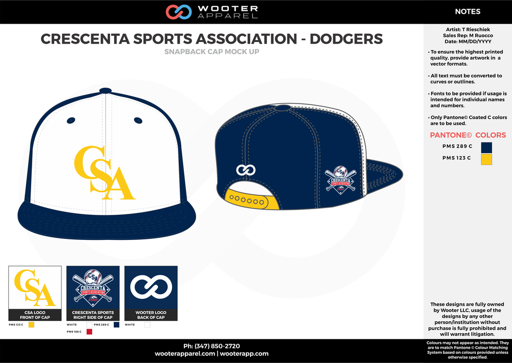 CRESCENTA SPORTS ASSOCIATION - DODGERS Blue Yellow and White Basketball Snapback Hat and Cap