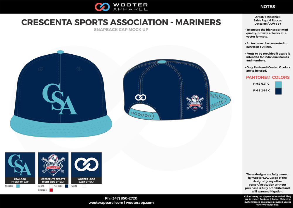 CRESCENTA SPORTS ASSOCIATION - MARINERS Blue Skyblue and white Basketball Snapback Hat and Cap