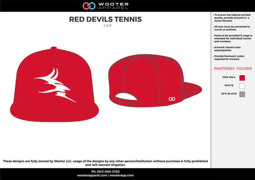 RED DEVILS TENNIS Red Gray and White Tennis Snapback Hat and Cap